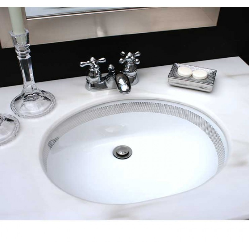 hand painted silver border sink in modern black powder room