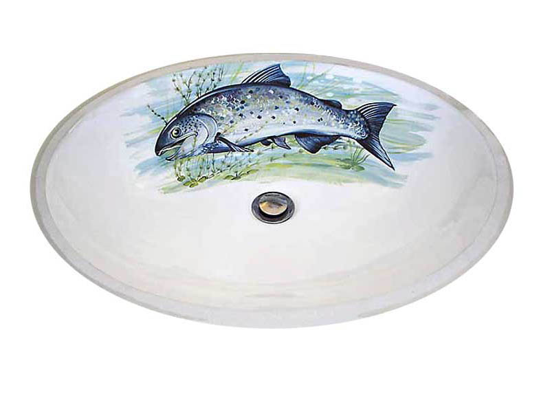 Salmon Big Fish Lodge Design hand painted sink by decorated bathroom.