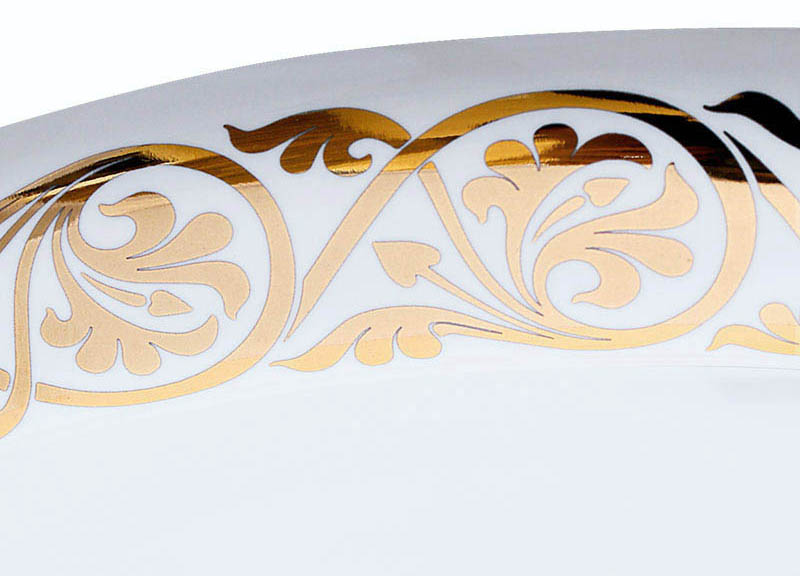 Detail of Big Fancy Gold Border hand Painted on Sink.
