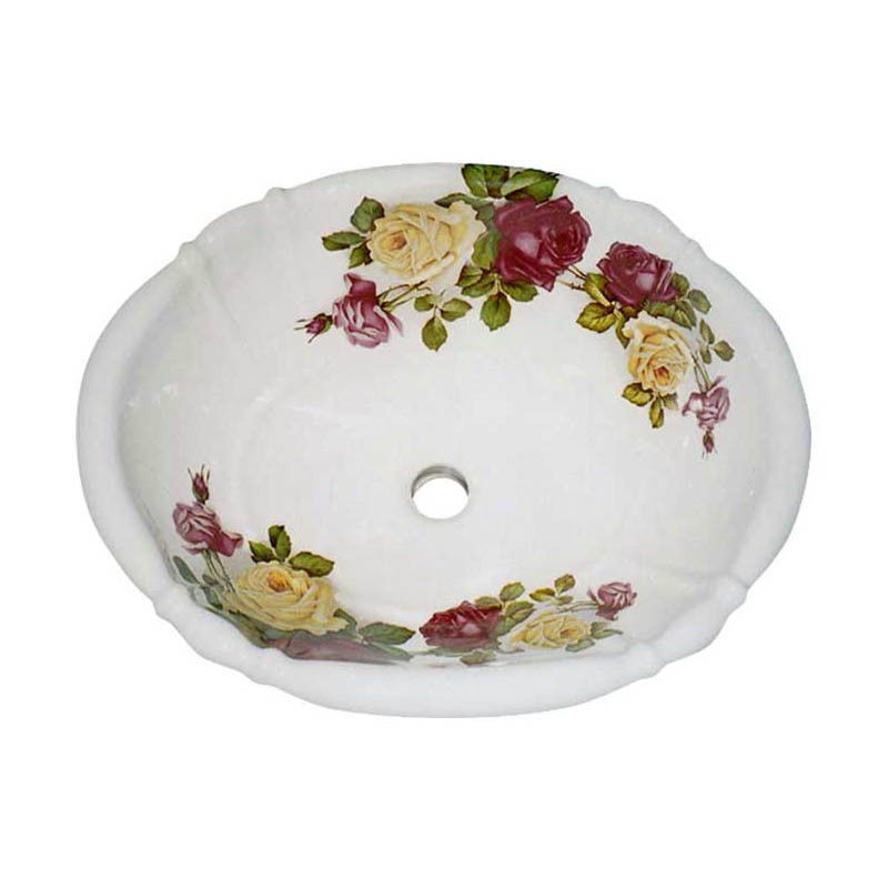 Eden Rose design painted on a white fluted drop-in basin