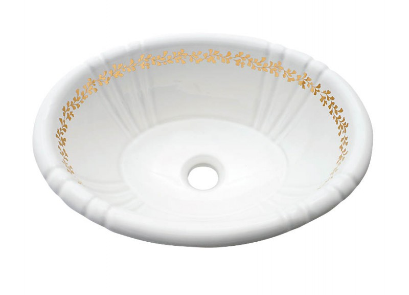 Fancy Gold Border design on a white fluted drop-in sink.