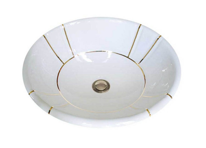 Simple Gold Bands hand painted decorative sink