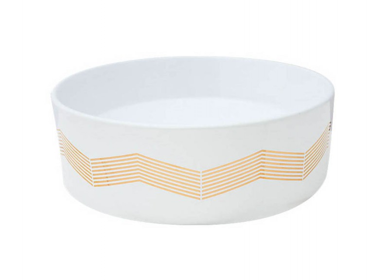 Metallic Gold Chevron Strip design on a white round vessel sink