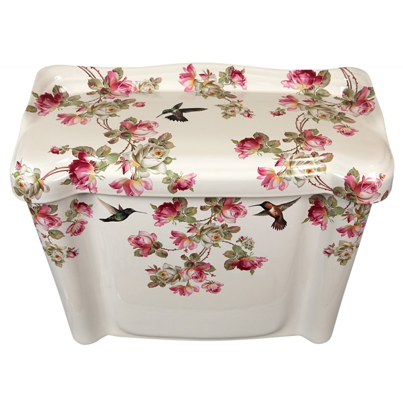 pink and white roses and hummingbirds on a toilet tank & lid.