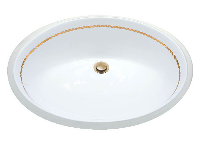 Gold Rope border design on a white undermount sink.