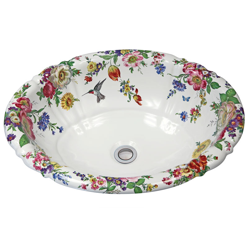 hand painted porcelain bathroom sink with colorful flowers