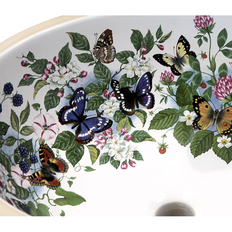 painted butterflies and flowers under mount basin detail
