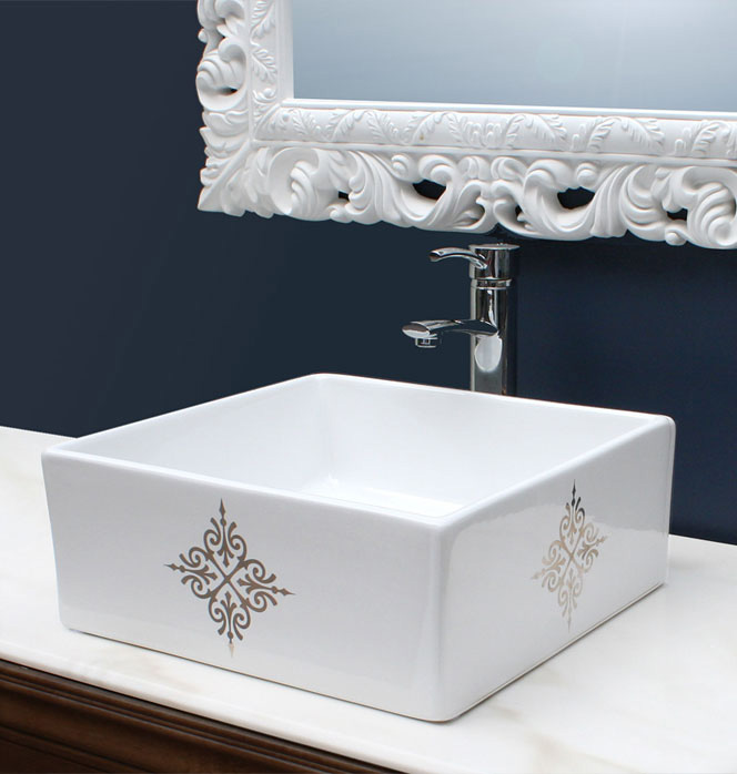 navy blue powder room with silver fancy decorated sink
