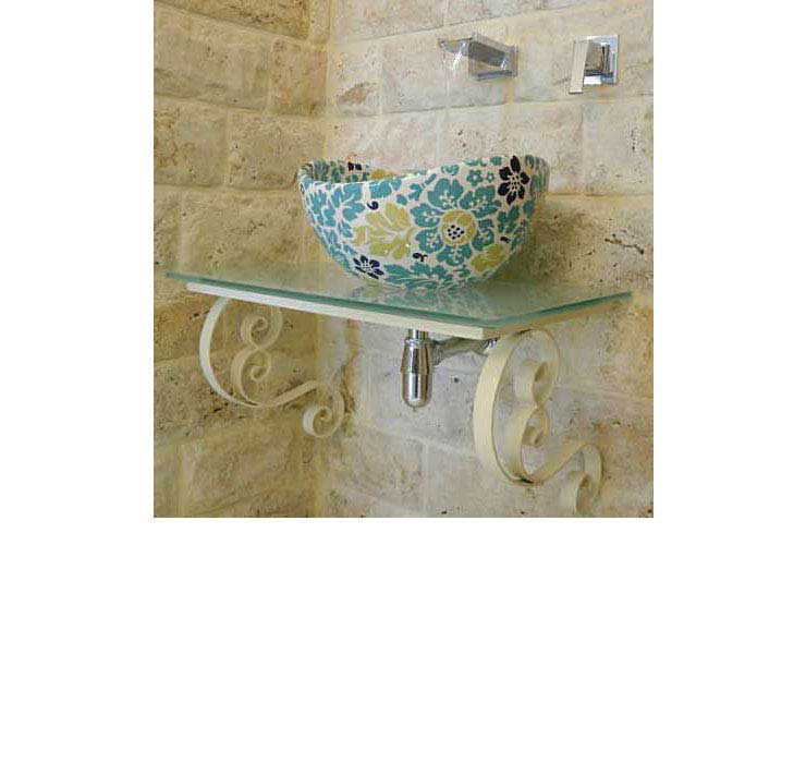 hand painted vessel sink with flowers design in shades of blue and green