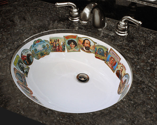 Vintage cigar labels hand painted sink with granite counter
