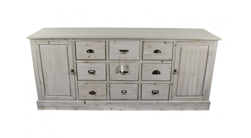 meuble semainier chiffonnier grainetier bois 9 tiroirs ceruse blanc 210x54x90cm