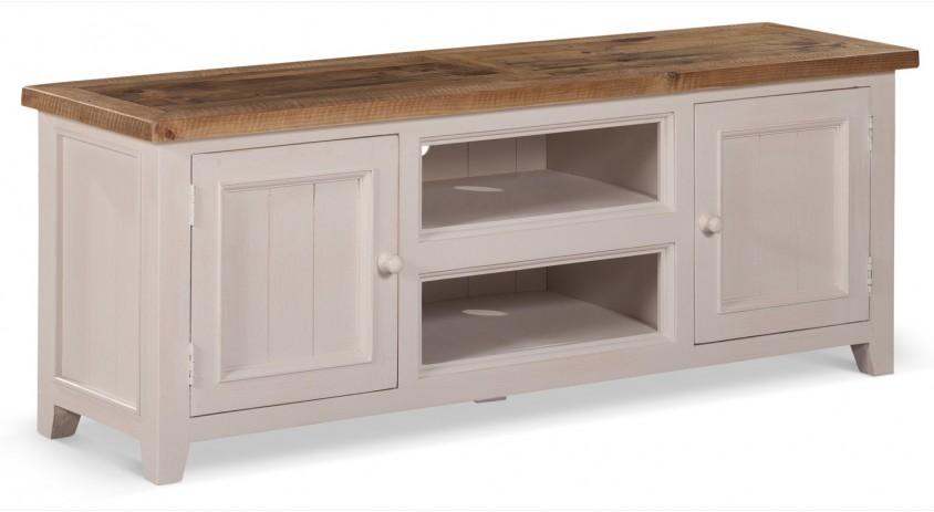 meuble tv bas rangement bois blanc cesure 160x45x60cm