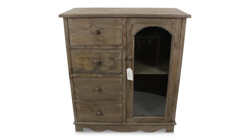 meuble bas rangement bois 4 tiroirs 80x40x90cm