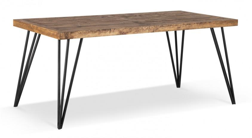 table a manger bois metal marron 180x90x76cm