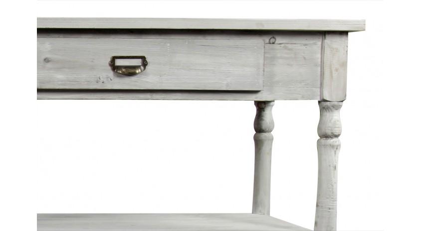 meuble console drapier bois ceruse blanc 2 tiroirs 190x54x87cm