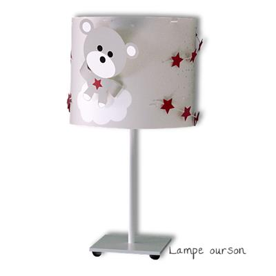 lampe bebe ours gris rouge fonce