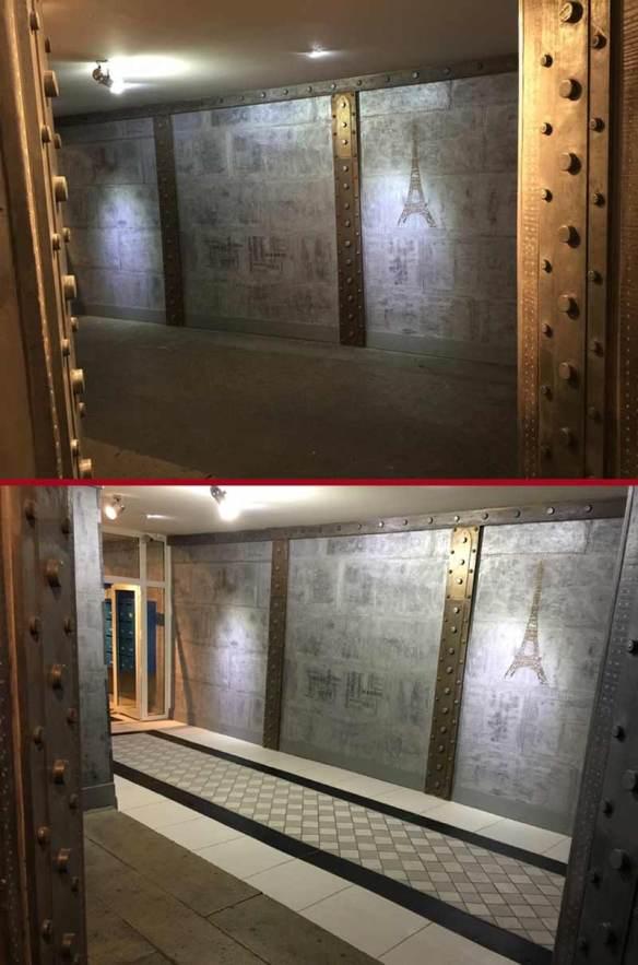 rénovation d'un hall d'immeuble ancien décoration de style industriel et murs métal rivetés