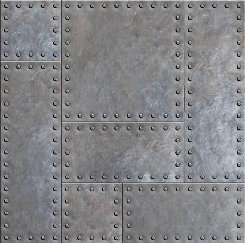 Plaques de métal riveté oxydé