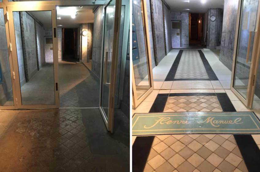 Sol hall d'entrée immeuble rénové peinture également sans aucun travaux