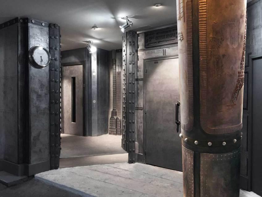 Hall immeuble décoration de style industriel