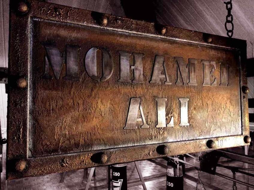 plaque boxeur célèbre dans le style industriel