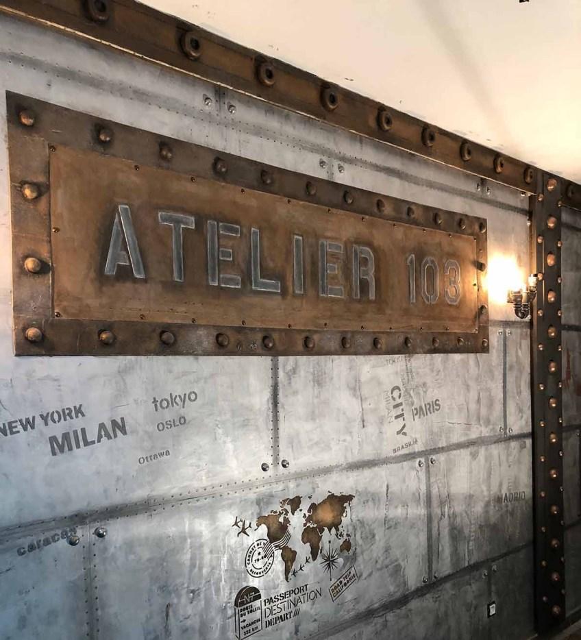 plaque métal style industriel publicitaire brasserie style Eiffel