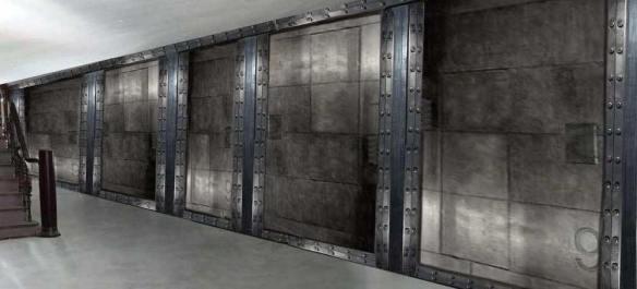 décoration parties communes immeuble murs métal style industriel et Eiffel