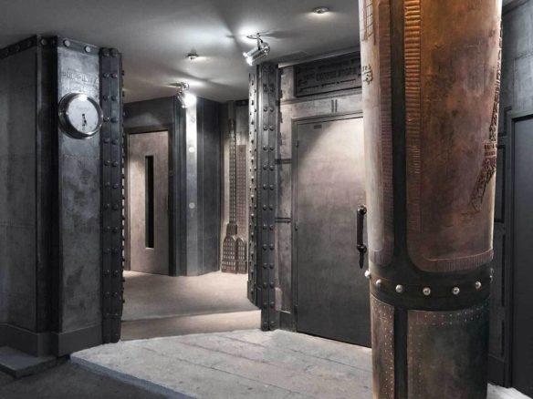 architecte d'intérieur Décoration murs hall d'immeuble pour des murs métal en dimension 3D et style eiffel en relief trompe l'oeil