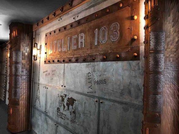 mur métal style industriel et IPN style Eiffel