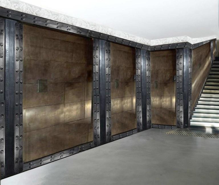 Décorateur de murs de hall d'immeuble murs métal style industriel sur BA13