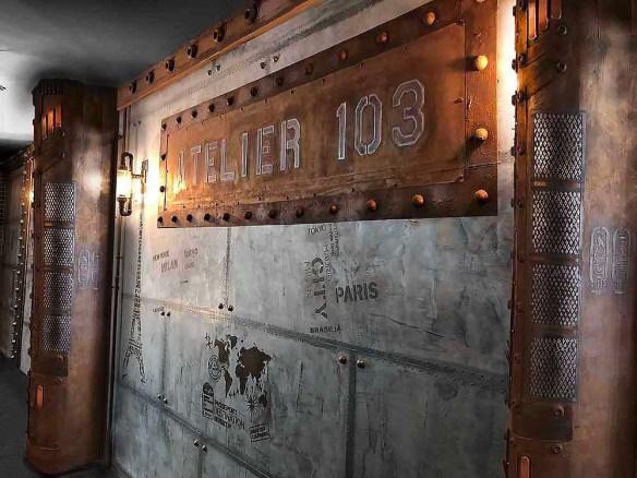 design restaurant style industriel murs métal et IPN style Eiffel