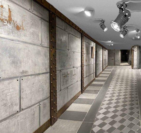 Entrée hall d'immeuble chic murs métal style industriel et IPN style Eiffel
