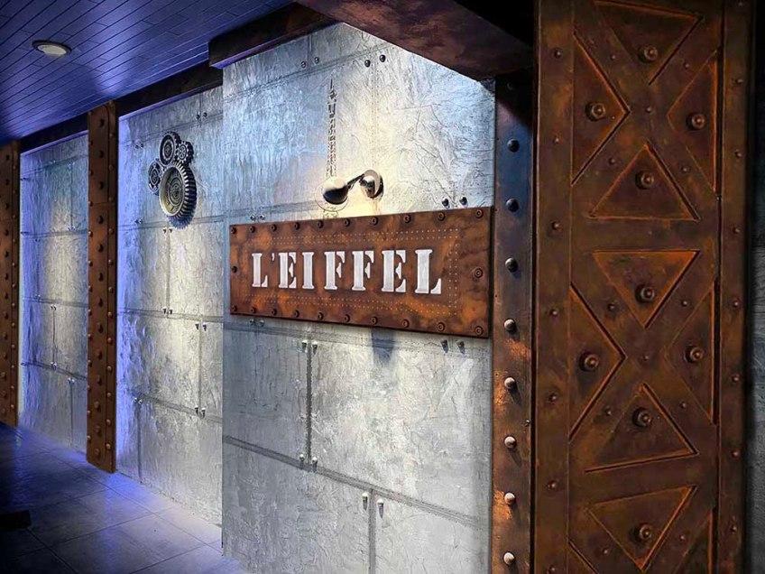 Décoration restaurant moderne béton décoratif résinence murs métal et IPN style Eiffel