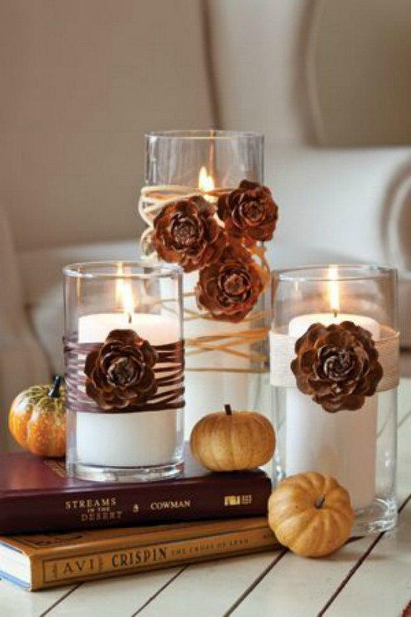 pinecone flowers for your side table