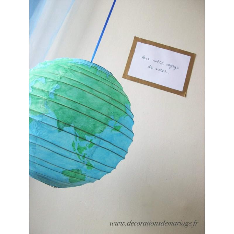 Urne Mariage Globe Deco Voyage