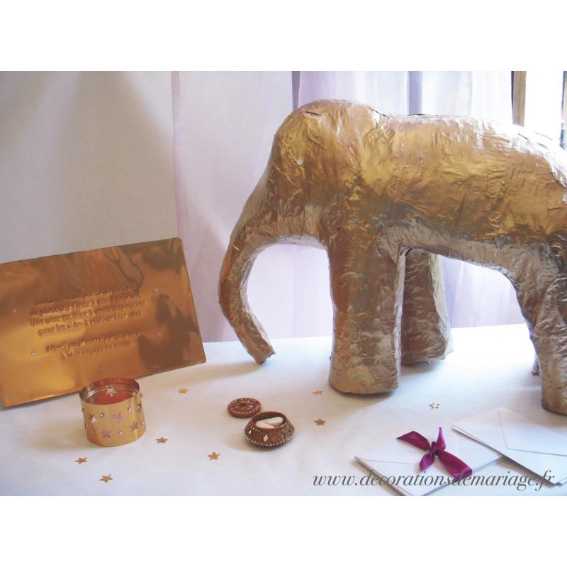 Urne Mariage Elephant Papier Mache