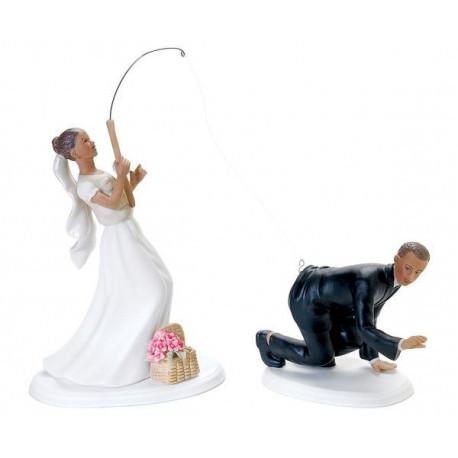 Figurine de gateau mariage pche noir