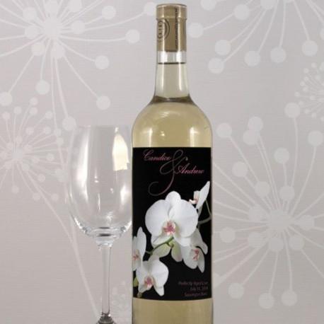 Etiquette bouteille de vin personnalisee orchidee