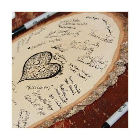 Livre dor rondin de bois  deco mariage rustique