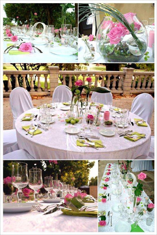 deco mariage rose et vert anis