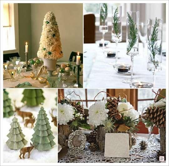 mariage hiver decoration table centre de table sapin cone pomme de pin