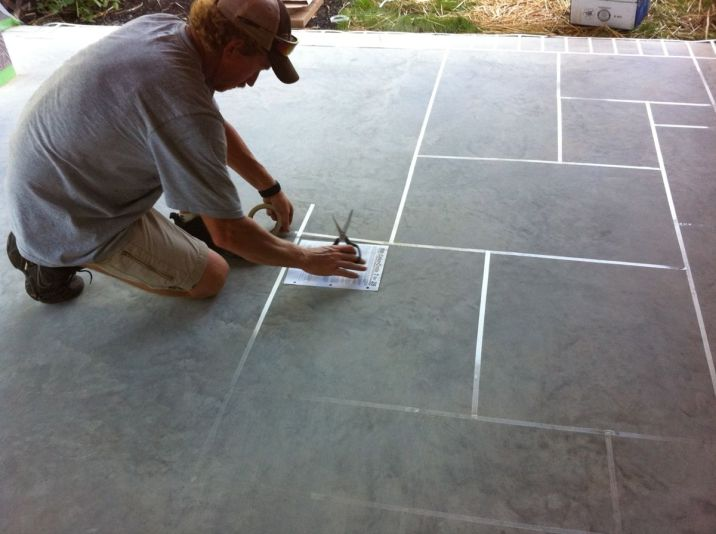 Concrete Restoration Custom Slate Patterns On Large