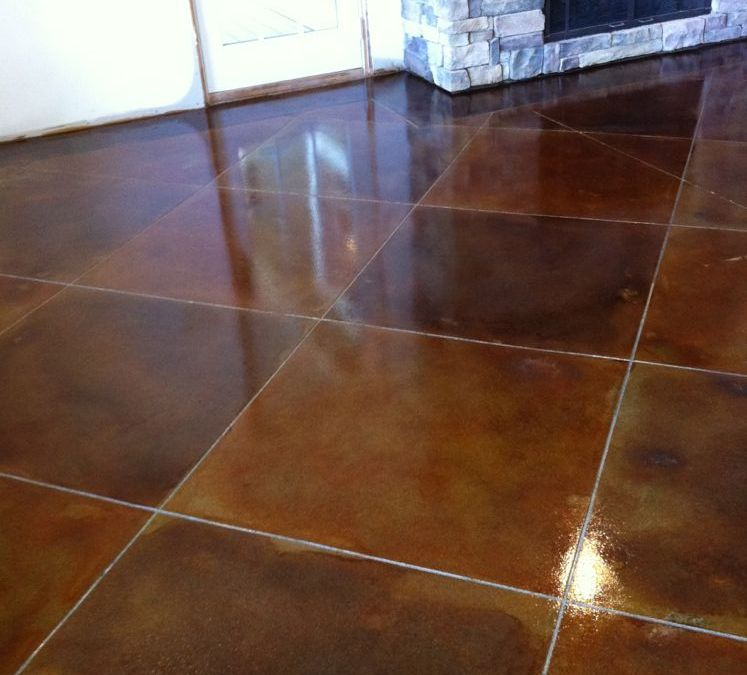 Scoring Lines in a Multi-Colored Stained Concrete Floor