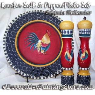 HOL18003web-Rooster-Salt-Pepper-Plate-Set