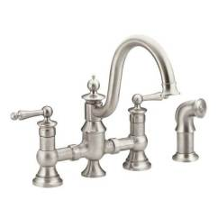 Moen Kitchen Faucets Merillat Cabinets Bridge Decorative Plumbing Supply San 1 057 45 570 25 S713srs Spot Resist Stainless Two Handle Faucet