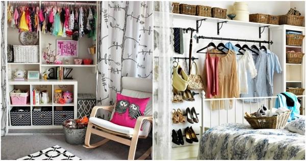 Vestidores abiertos con cortinas Ideas de armarios con