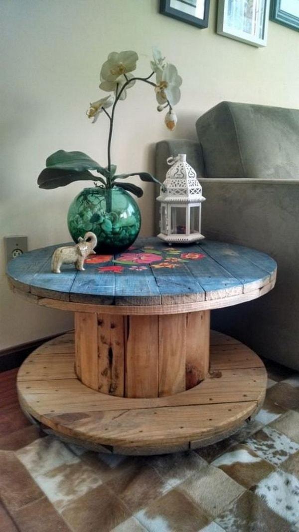 Mesas hechas con bobinas de cable recicladas Muebles DIY