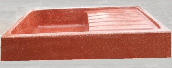 evier de cuisine en beton cire rouge cm 90x50x20h