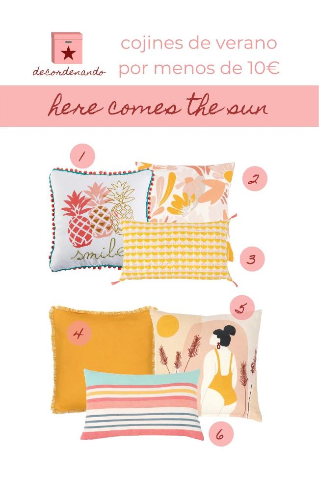 selección de cojines primavera-verano baratos: here comes the sun