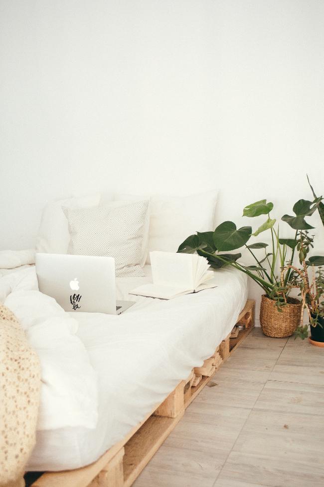 cama sobre palés y planta en cesto